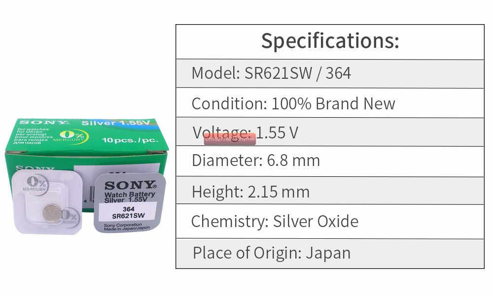 1 piezas Sony 100% Original 364 SR621SW V364 SR60 SR621 AG1 reloj botón de la batería pila de hecho en Japón