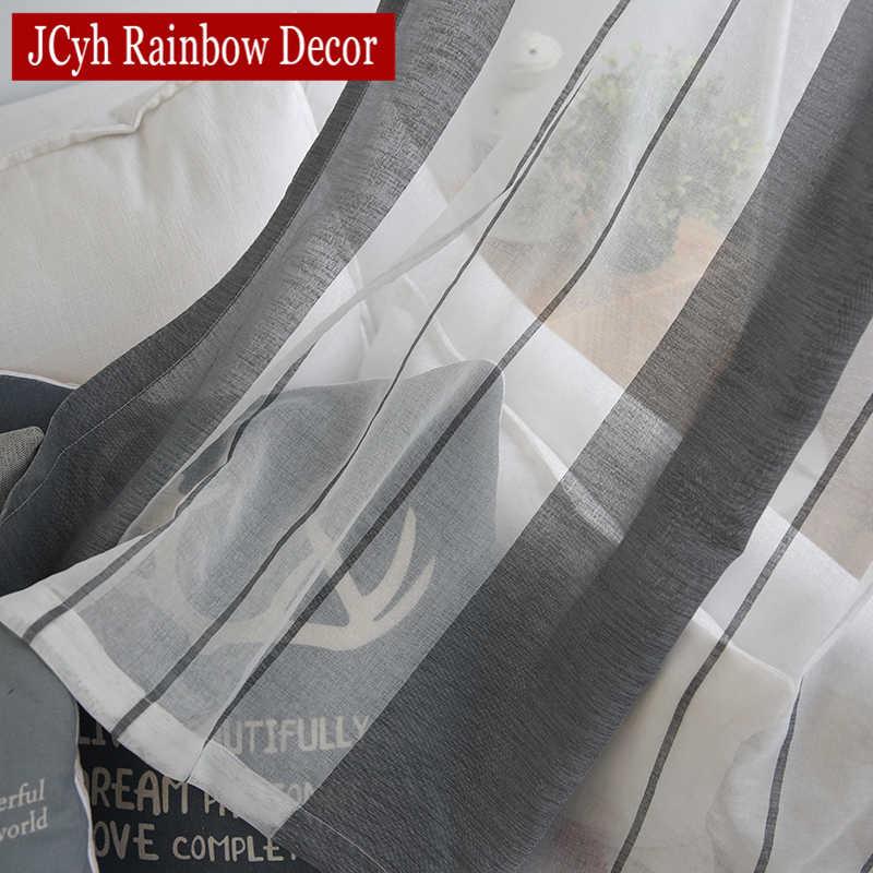 Lino grigio Sheer Tulle Tende Per Il Salone Della Banda Moderna Tende Per La Camera Da Letto Finestra Tende di Voile Tessuti di Tende Tende
