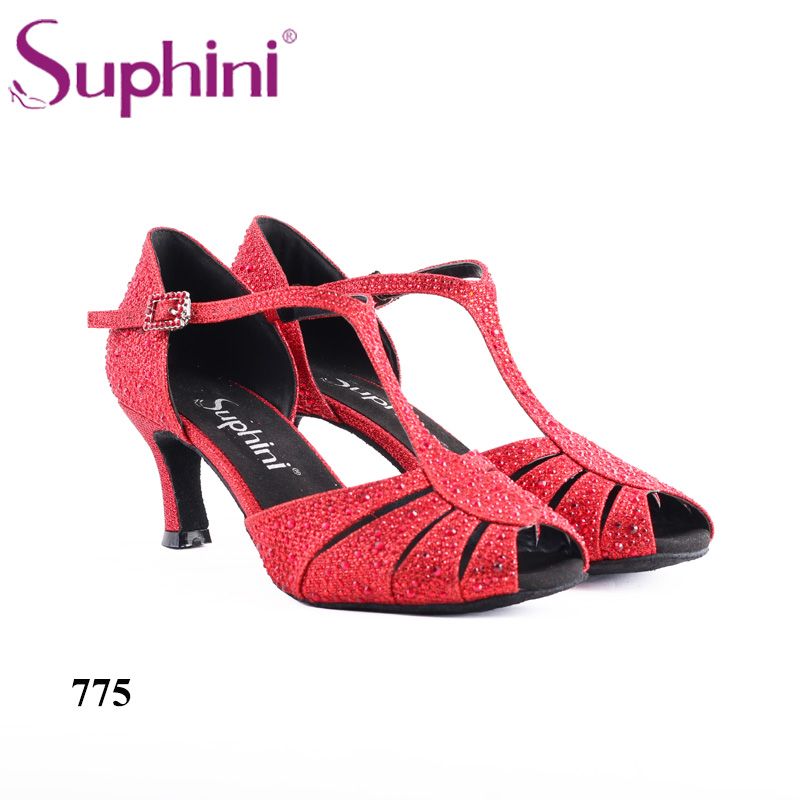 2018 Suphini Dance Shoes Hand made Red Glitter Crystal Red Salsa Latin Dance Shoes Free Shipping free shipping 2017 suphini latin red love dance shoes woman dance shoes crystal comfortable flexible latin dance shoes