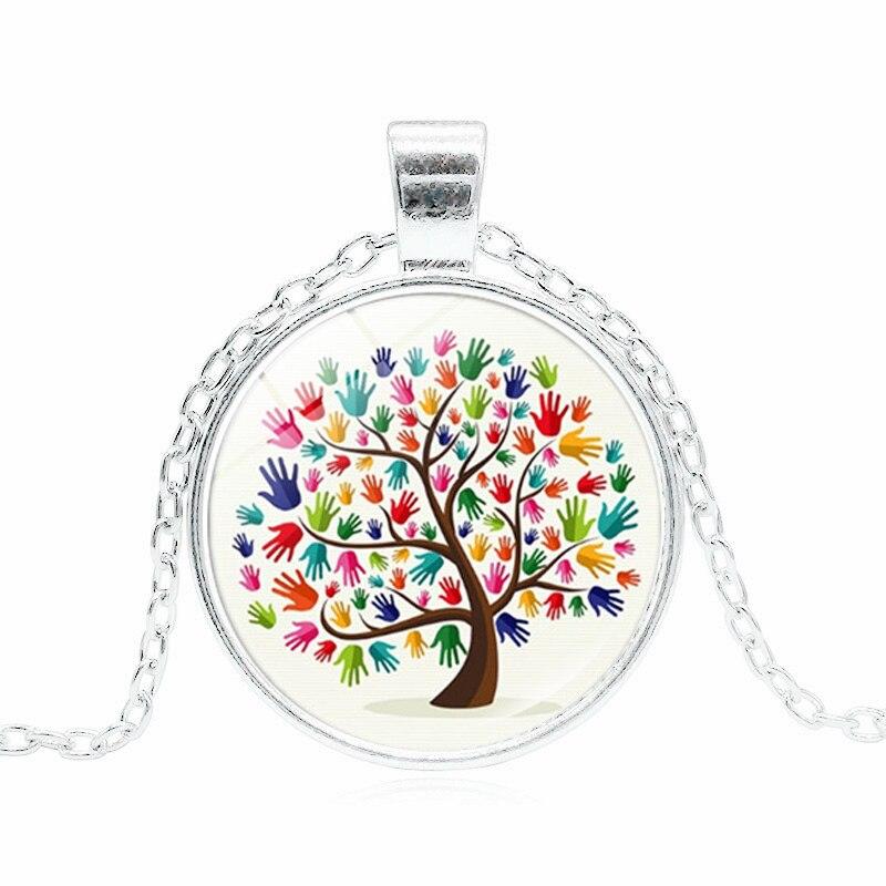 Photo Cabochon Glass Silver popular Pendants Necklace(Autism heart jigsaws