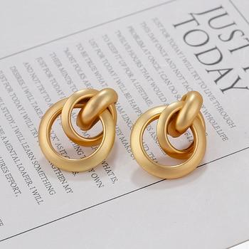 AENSOA, moda 2019, pendientes de gota de nudo de Color dorado para mujer, colgante moderno de geometría giratoria, pendiente llamativo, joyería de fiesta
