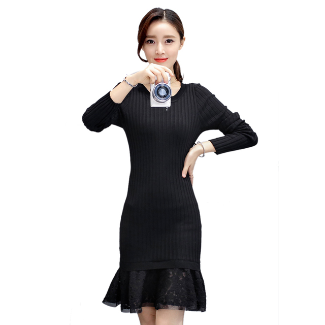 Plus Size Women Mermaid Dresses Autumn 2017 New Knitted Black ...