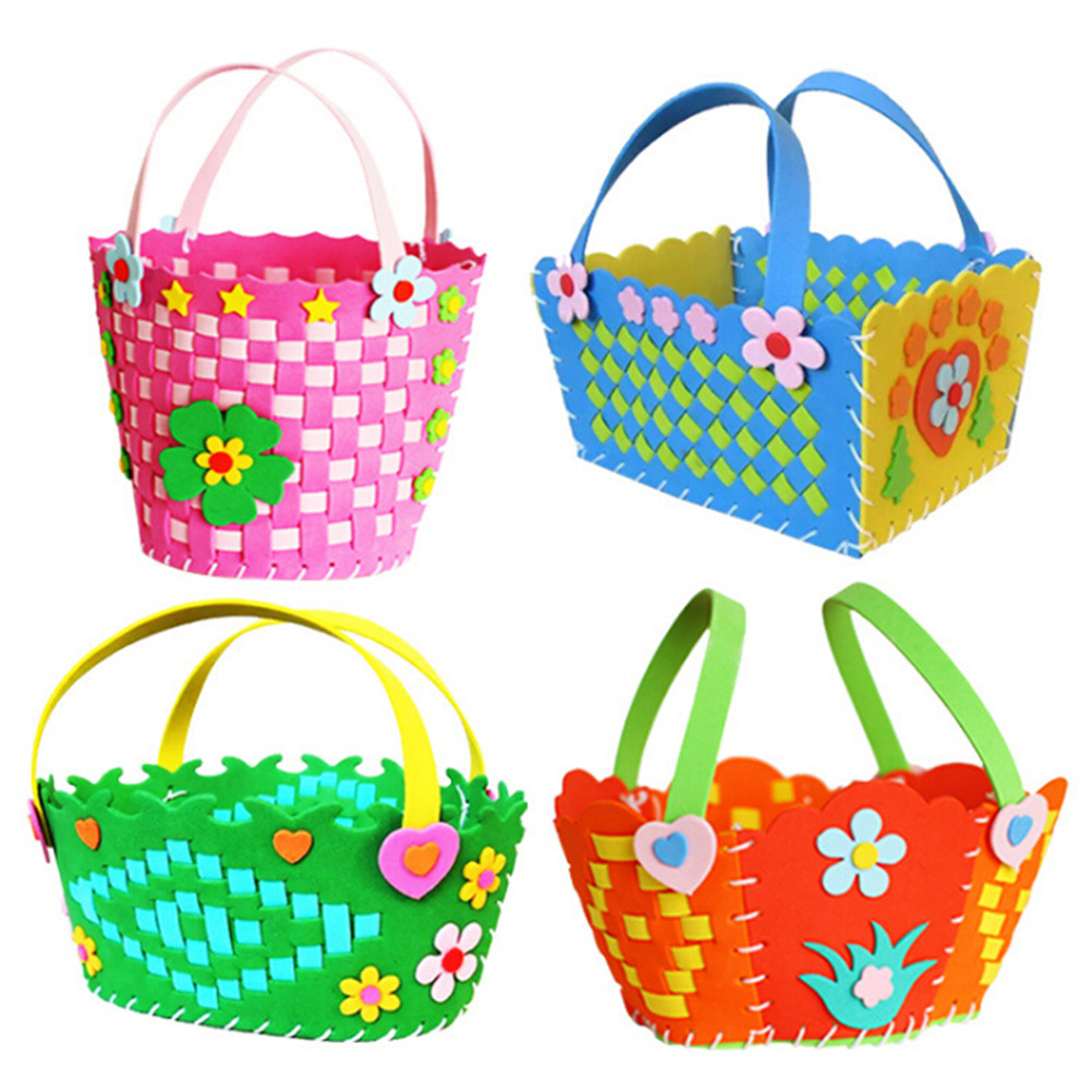Kindergarten Cute DIY Handmade Knitted Woven Basket Eva Foam Craft Kits Kids Creative Educational Toys Gifts For Children
