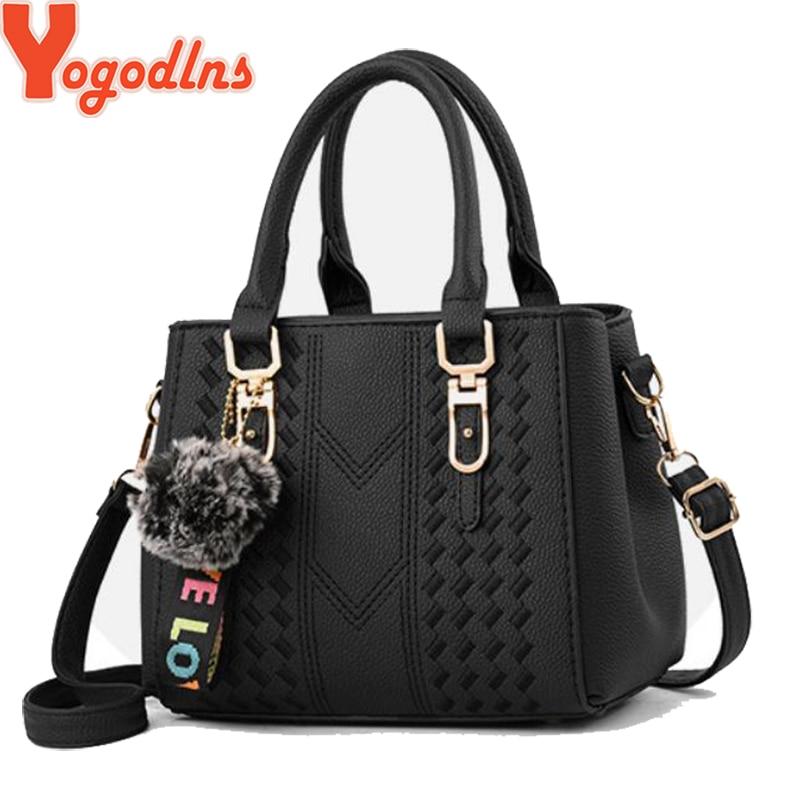 Yogodlns Brand High Quality Thread Hairball Strap Ladies Totes Shopping Work Flap Women Messenger Shoulder Crossbody Handbag