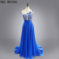 Real Photo Blue Color See Through Sexy Party Evening Gown Long Chiffon Lace Appliques One Shoulder