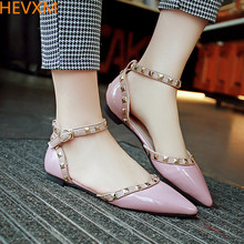 HEVXM 2017 new European and American fashion ladies rivet pointed flat shoes female casual shallow mouth buckle work shoes