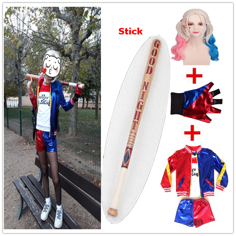 Kids Suicide Squad Harley Quinn Costume Cosplay JOKER Girls Halloween Party Harley Quinn Monster Sportswear Jacket Baseball Bat