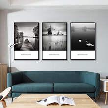 Canvas Paintings Riverside Windmill View Living Room Decoration Painting Black And White Wall Art Posters Prints
