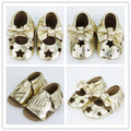 2016 new laser cut star Fretwork Genuine Leather baby girls shoes First Walkers Toddler baby moccasins bow mary jane Shoes