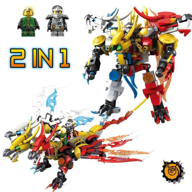 371 Pcs Ninjago 2IN1 Técnica do Dragão do Ouro Conjuntos de Blocos de Construção de Brinquedo Robô Figuras De Dragon Ball Brinquedos Educativos para Crianças