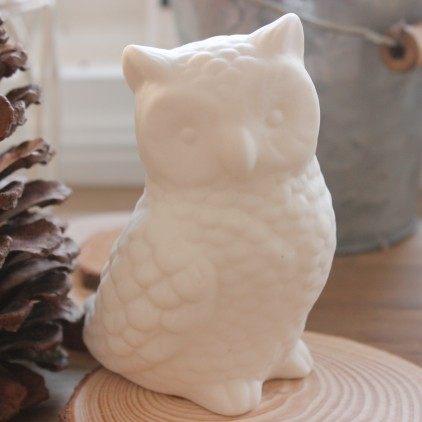 White Ceramic Decoration Home Accessories Owl Porcelain Cute Pottery Figurine Desktop