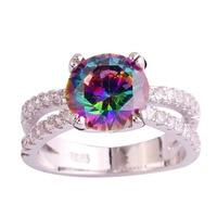 lingmei Wholesale Men Jewelry Round Rainbow Topaz White Topaz 925 Silver Ring Size 6 7 8 9 10 11 Fashion Women New Design Rings