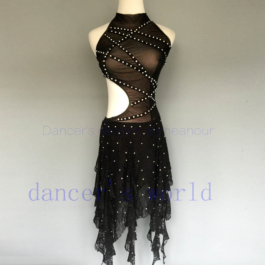 8cb7db0c21f4 New style latin dance costume sexy gauze stones latin dance dress for women  latin dance competition dresses