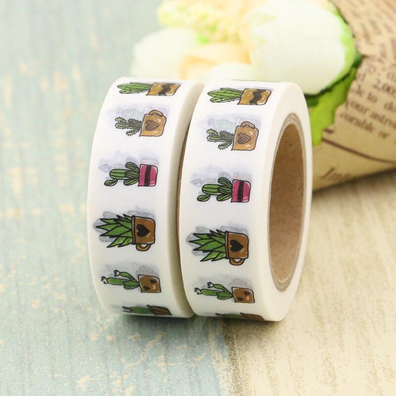 2PCS Washi Tape Japanese Cactus Plants 10m Kawaii Scrapbooking Tools Masking Tape Christmas Photo Album Diy Decorative Tapes
