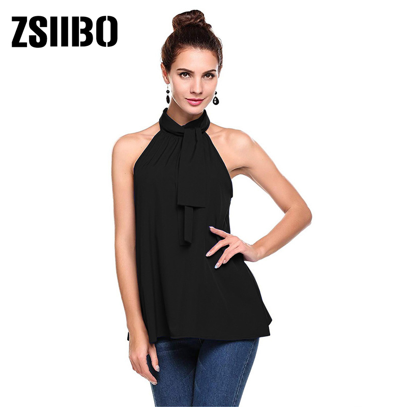 Elegant Women Hollow Out Blouse Sleeveless Turtleneck Chiffon Work Shirts 2019 summer clothes for women Plus Size overalls