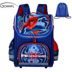 Новые детские школьные ранцы для мальчиков, ортопедические Водонепроницаемые рюкзаки, детские рюкзаки для мальчиков с человеком-пауком, су...