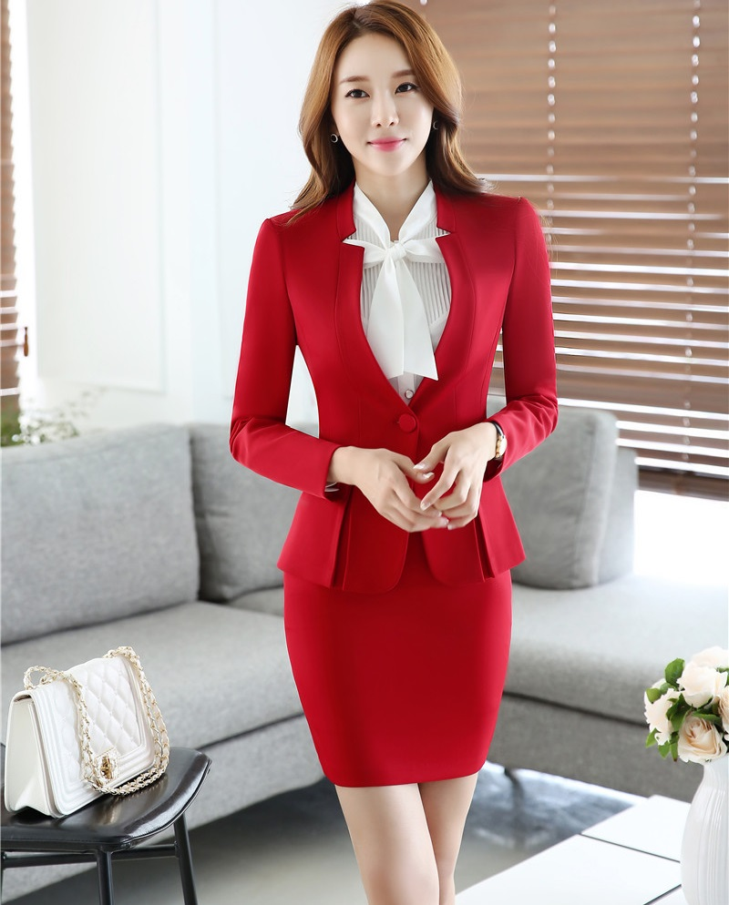 Novelty Red Formal OL Styles 2016 Autumn Winter Formal Uniform Design Professional Business Suits Tops And Skirt Ladies Blazers