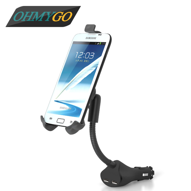 Universal Car Phone Holder Mount Stand Dual USB Charger Cradle For Iphone 6 5 5s Samsung Galaxy Note Xiaomi Sony Xperia Lenovo