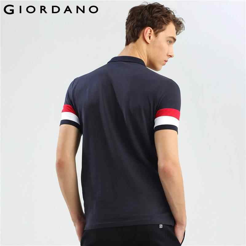 bc8677ae0 ... Giordano Men Polo Shirt Men Union Jack Embroidery Polo Color Blocking Camisa  Polo Slim Pattern Short ...