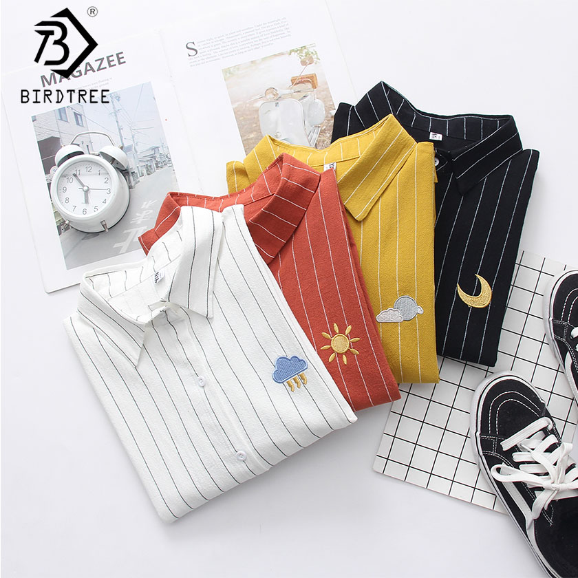 2019 NEW Striped   Shirt   Office Lady Wear Button Up Turn Down Collar Cotton   Blouse   Weather Embroidery Feminina HOT SaleT8D418M