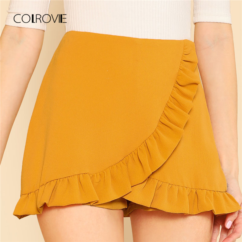 COLROVIE Ruffle Trim Overlap Mini Shorts 2018 Summer Ginger Zipper Fly Elegant Skirt Shorts Mid Waist Zipper Plain Women Shorts