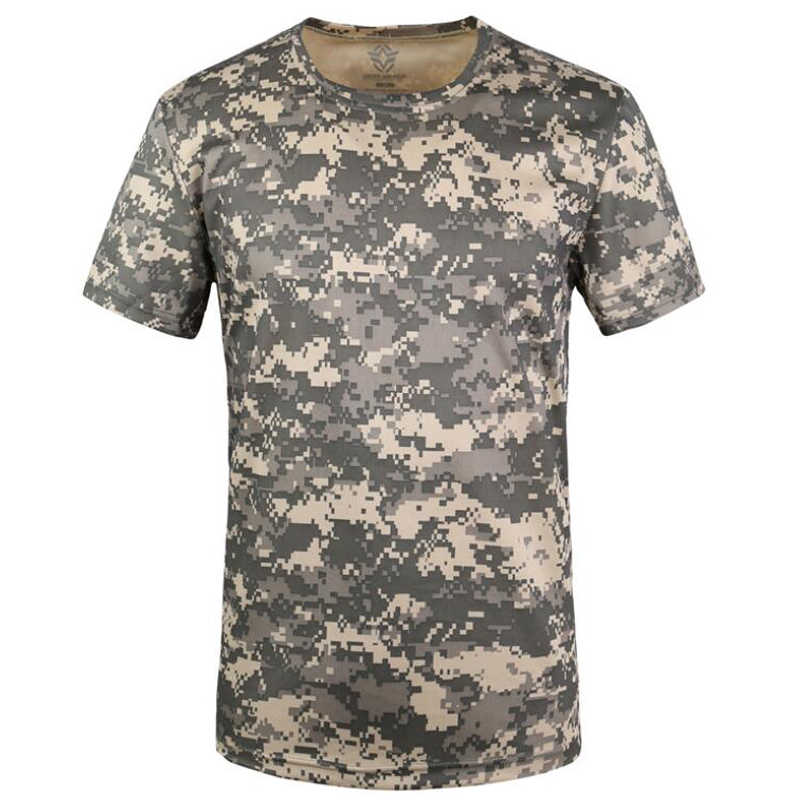 Zomer T-Shirt Snel Droog Camouflage O Hals Korte Mouw Tee Shirt mannen Casual Outdoors Tactical Combat T Shirts Militaire tops