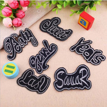 DOUBLEHEE Size On Photo Black Letters Patch Embroidered Patches For Clothing Iron Close Shoes Bags Badges Embroidery