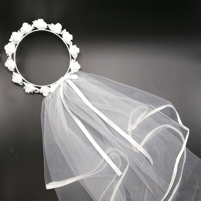Women Bridal Flower Hair Wreath With White Veil Garland Wedding Headband Crown Adjustable Lace Up Ribbon Bachelorette Party
