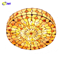 FUMAT Retro Tiffany Drum Shell Ceiling Lights Baroque Stained Glass Hanging Lamp Bedroom Living Room Home Decor Ceiling Lamps