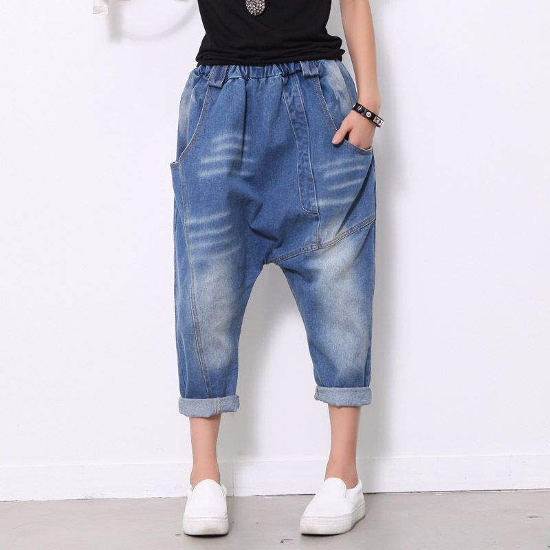 Baggy Blue Harem Jeans Plus Size Low drop Crotch Denim Pants Hip Hop street dance Trouser Women hanging crotch Joggers 1685