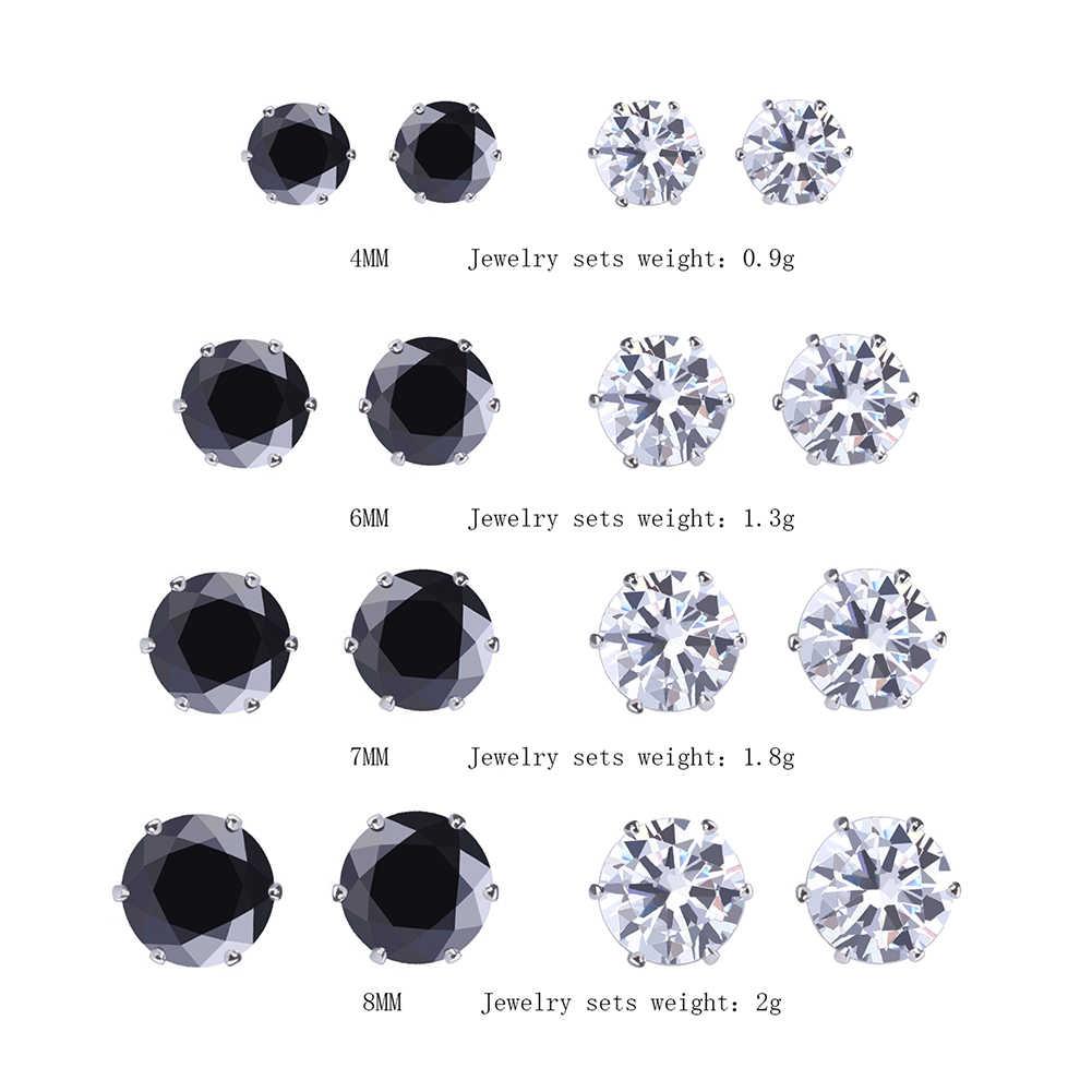 925 8 คู่/เซ็ตใหม่สีดำ/เงิน Zircon ต่างหูชุดสำหรับผู้หญิงจำลอง Pearl เจาะ Geometric Stud ต่างหูแฟชั่นเครื่องประดับ