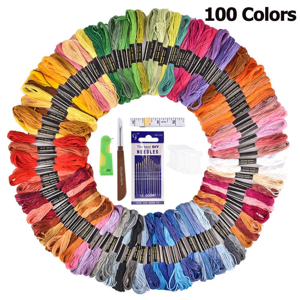 التطريز DMC الموضوع 100 ألوان البوليستر التطريز الخيط عدة القطن عبر إبرة الحرفية الخياطة الخيط عدة DIY بها بنفسك أدوات خياطة