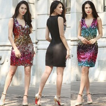 OMILKA Sequin Dress 2017 Women Sleeveless V Neck Bodycon Dress Sexy Gradient Color Plus Size Shiny Club Party Vestidos Mujer