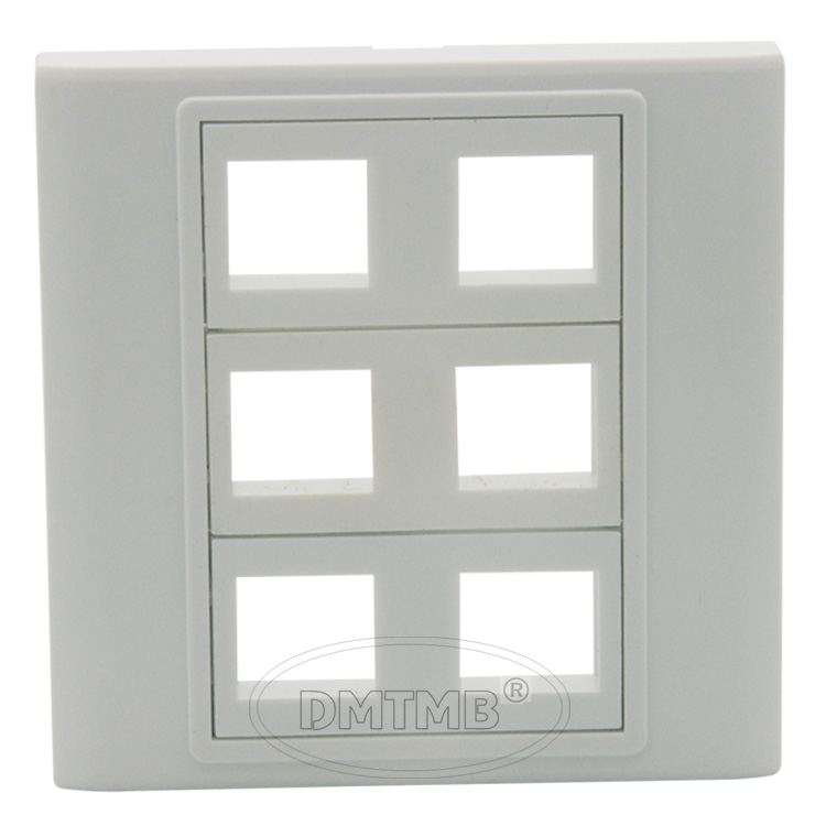 86 Wall Plate Face Plate With 6 Keystone Ports