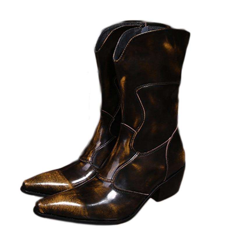 Западные ковбойские ботинки Для мужчин средней до середины икры из натуральной кожи Мужские ботинки 6,5 см каблуке сапоги для мужчин мотоцик