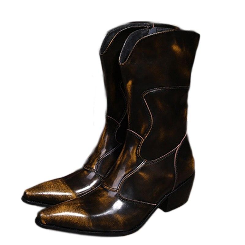 Western Cowboy bottes hommes moyen-veau en cuir véritable hommes bottes 6.5 cm talons Botas Hombre moto militaire bottes mâle, EU38-46