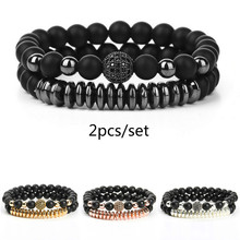 2 Pcs/Set Geometric Black Natural Stone Bracelets Gold Silver Color Luxury Crystal Mens Couple Braclet For Males Hand Jewelry