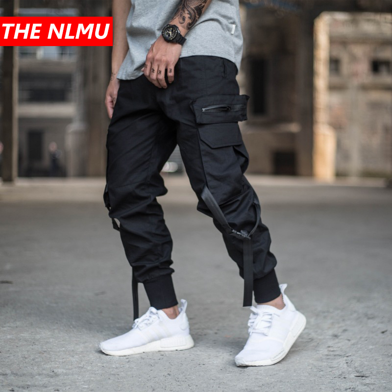 Mens Multi-pocket Harem Pant Men Streetwear Punk Cargo Pant Hip Hop Casual Trousers Joggers Male Black Pant GW014