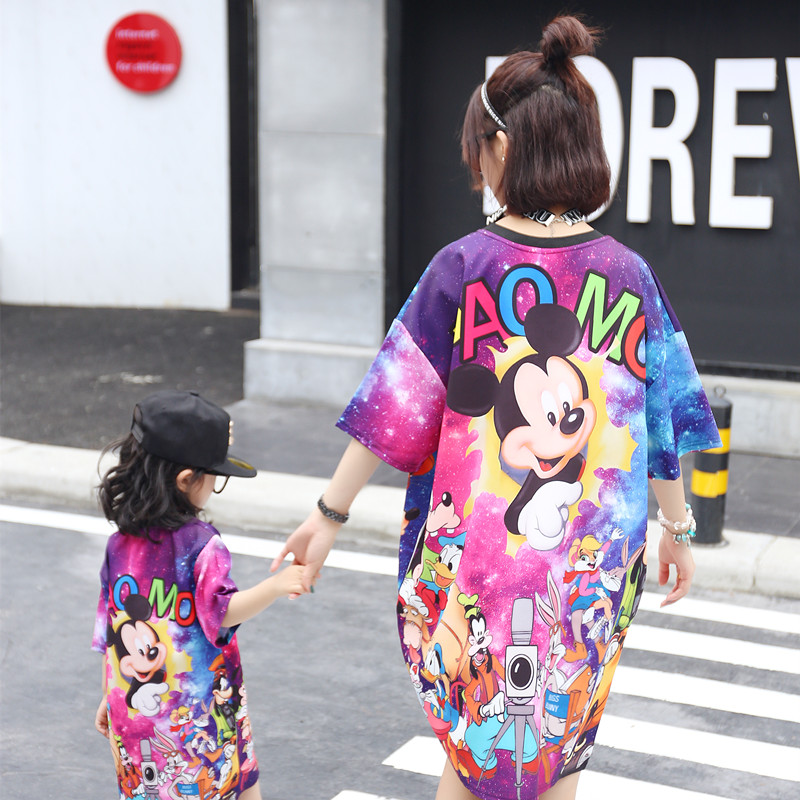 Mother Daughter Dresses For Family Matching Tshirt Tees Set Pajamas Mother & Kids Clothes Mom And Daughter Dress Family Clothing