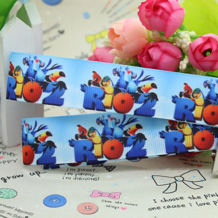 7/8'' Free shipping Rio 2 printed grosgrain ribbon hairbow party decoration diy wholesale OEM 22mm P2525