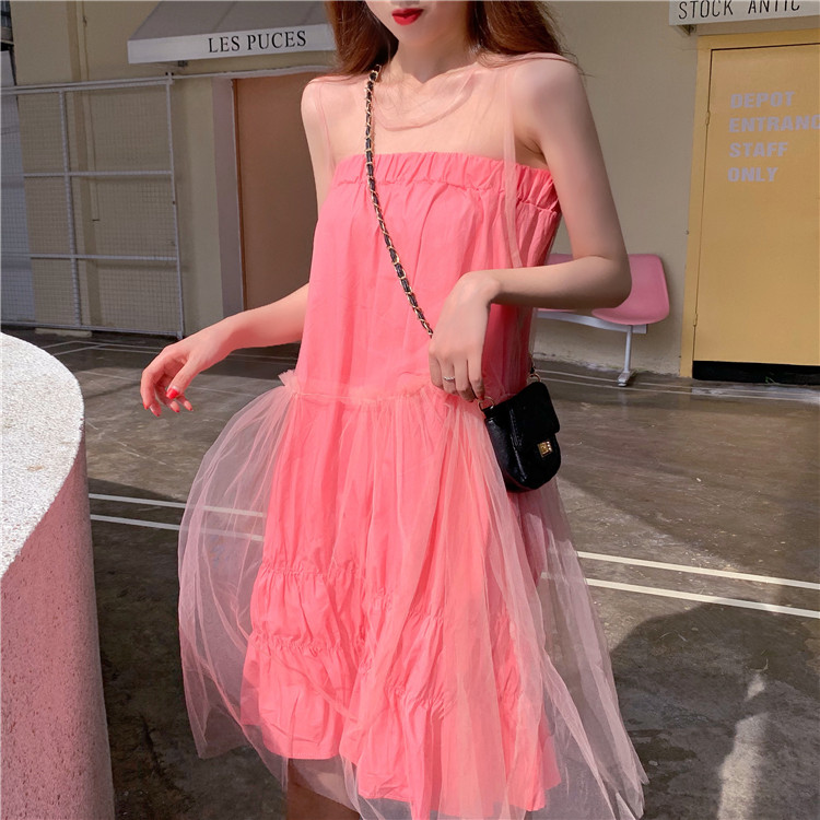 Summer Clothes For Women Sexy Two Piece Outfits Sets Club Outfits Skirt Set Pink Tube Top Pleated Skirt + Sleeveless Mesh Dress