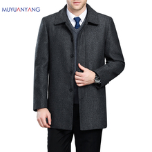 Men's Jackets Coat Autumn Winter Long Woolen Snow Coat For Men Wool Jackets Coat Turn-Down Collar Single Breasted Overcoat(China)