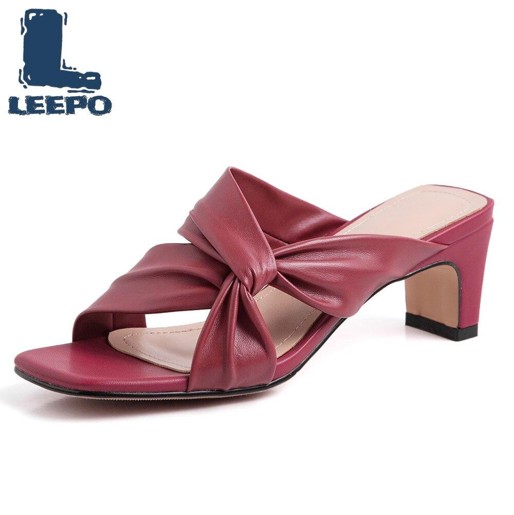 LEEPO chaussures femme solide talons hauts pantoufles femme marque de luxe blanc cassé sandales femmes été Slingbacks pompes dames diapositives