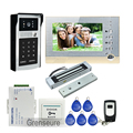 "FREE SHIPPING Wire 7"" LCD Screen Record Video Door Phone Intercom System + Outdoor RFID Code Keypad Password Camera + EM lock"