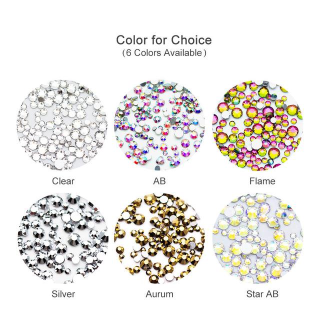 1440PCS Rhinestones For Nail Art Glass Multi-size Nail Crystal Rhinestone Nail Art Decorations Crystals Strass Charms MJZ2098