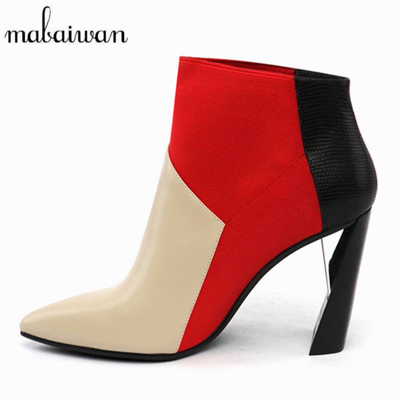 все цены на  Mixed Color Pointed Toe Women High Heel Ankle Boots Genuine Leather Botines Mujer Women Pumps Short Booties Shoes Woman  в интернете