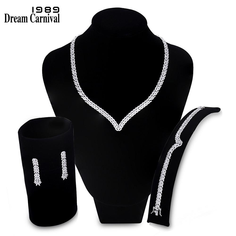 Dreamcarnaval 1989 dames V bijoux de luxe zircone blanche Grade AAA mariage luxe Design fantaisie ensembles de bijoux pour les femmes SN06182