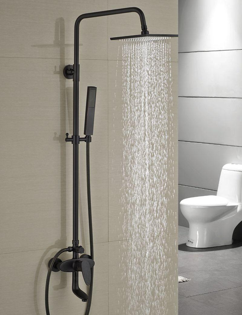 Luxury Modern 8 Square Rain Shower Head Faucet Wall Mounted Shower Column Single Handle Tub Spout Mixer Tap Shower Hand luxury modern 8 square rain shower head faucet wall mounted shower column single handle tub spout mixer tap shower hand
