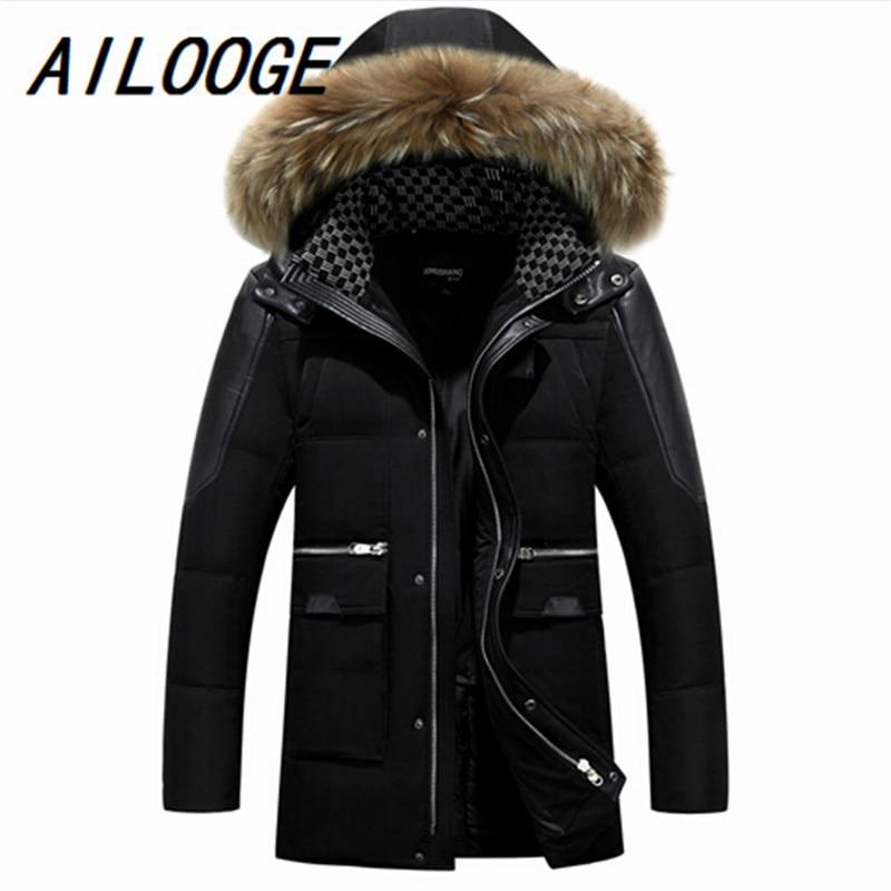 AILOOGE Down Coat Winter Jacket Men 2016 Men Down Coat With Hood Coat Men Winter Designer Winter Jackets Men Down Jackert