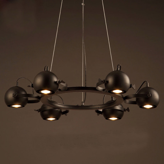 American iron led spotlight chandelier68 head gu10 metal ball american iron led spotlight chandelier68 head gu10 metal ball retro pendant lamp mozeypictures Image collections